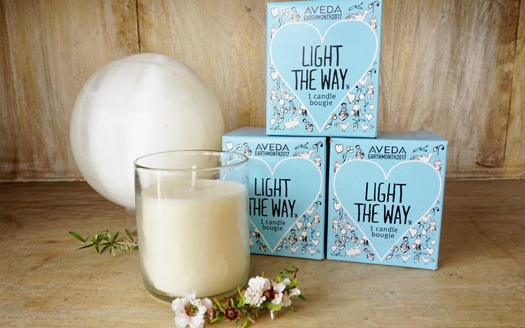 the aveda 2017 light the way candle at the Lemongrass Salon and Spa Encinitas boutique