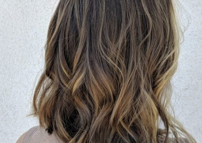 Natural & Blended Highlights and Long A-Line Bob