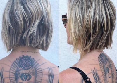 Short and choppy with blonde balayage
